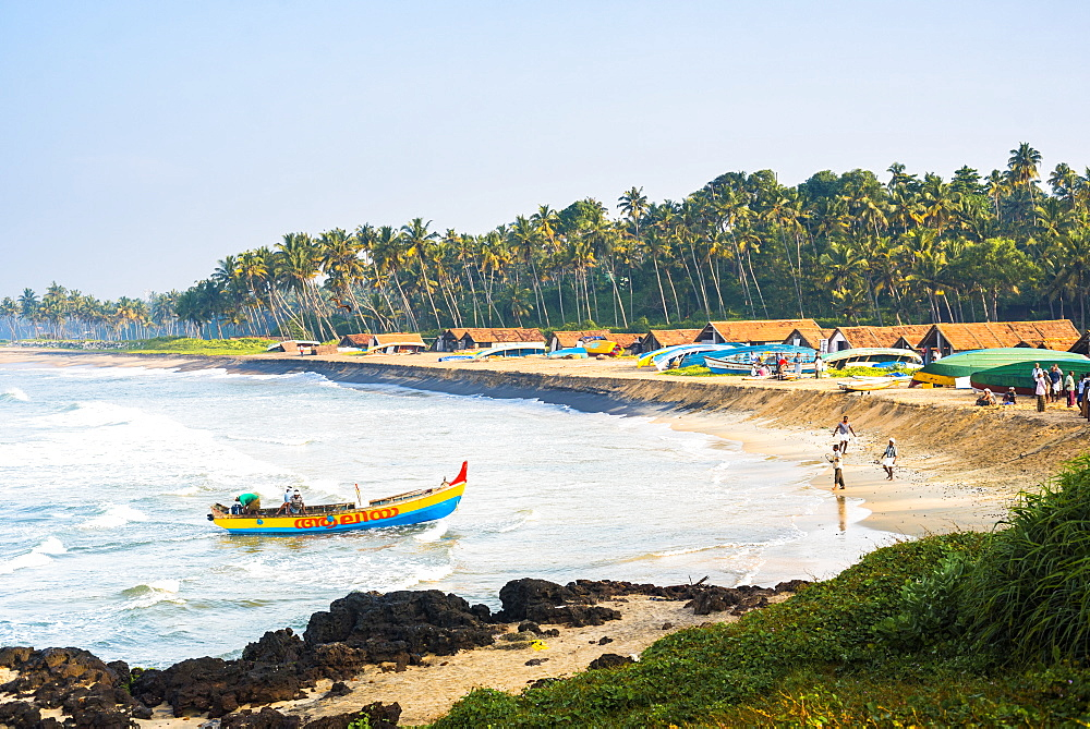 Kappil Beach fishing village, Varkala, Kerala, India, Asia - 1272-230