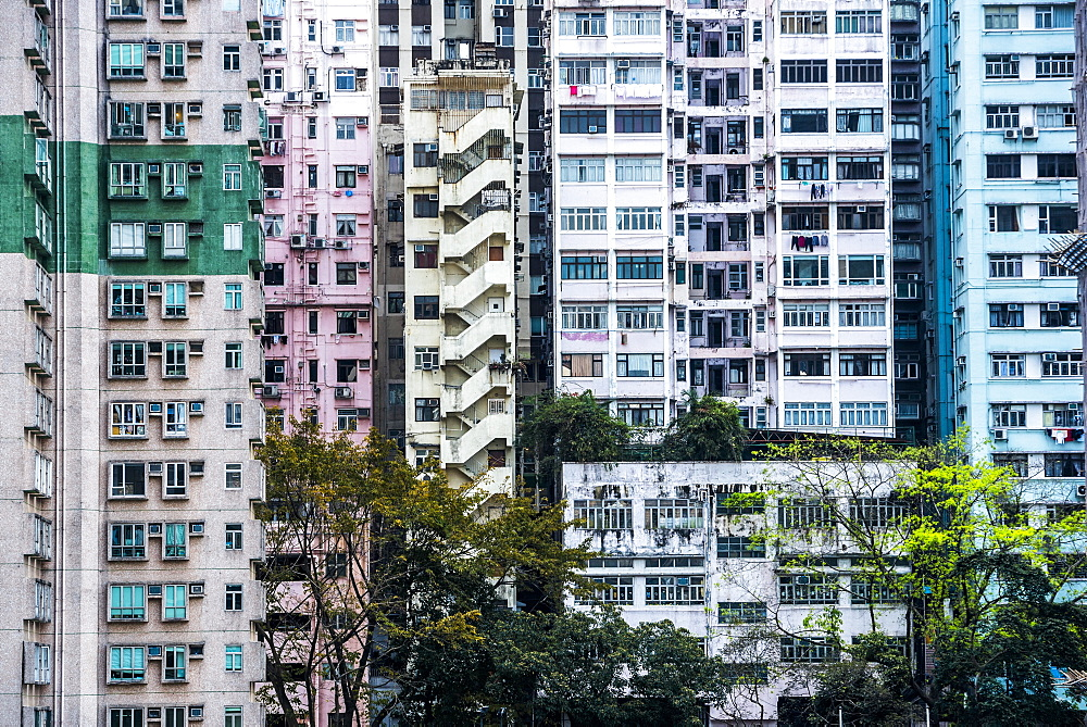 Flats in an apartment block, Hong Kong Island, Hong Kong, China, Asia