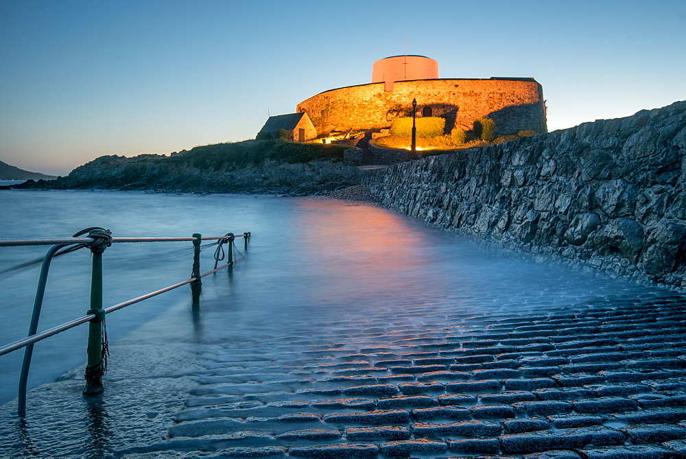 Fort Grey at twilight, Guernsey, Channel Islands, United Kingdom, Europe