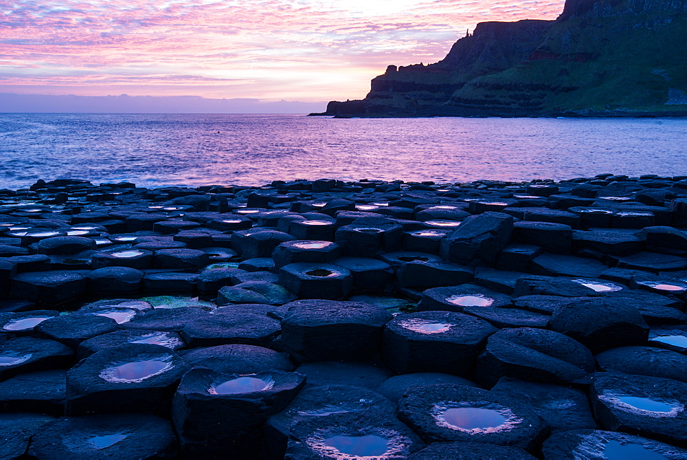 Basalt columns at the Giant's Causeway, UNESCO World Heritage Site, County Antrim, Ulster, Northern Ireland, United Kingdom, Europe