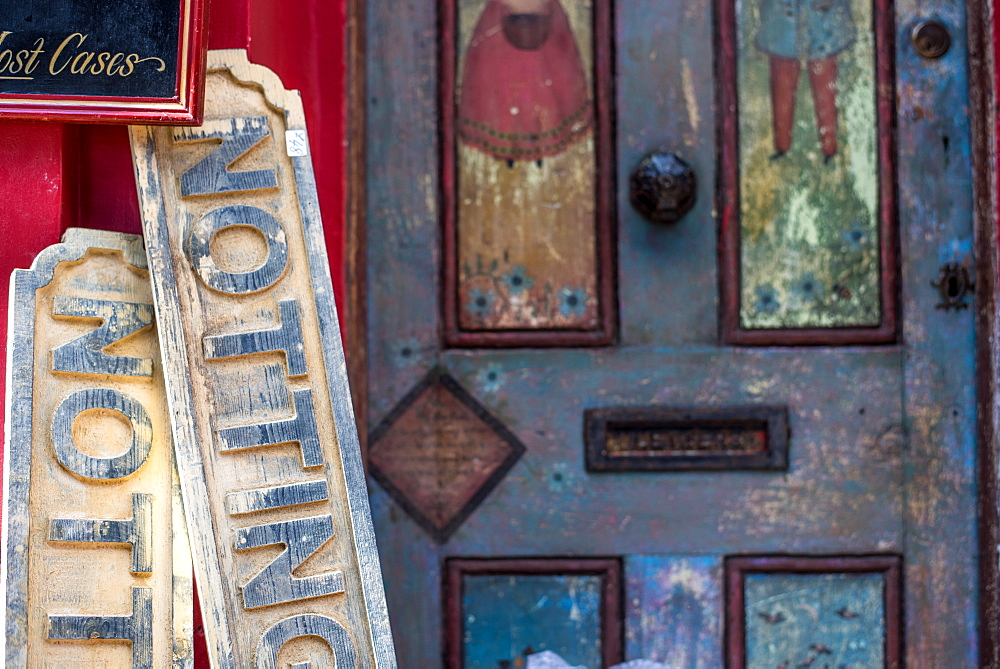 Notting Hill signs at Portobello Market, London, England, United Kingdom, Europe - 1272-49