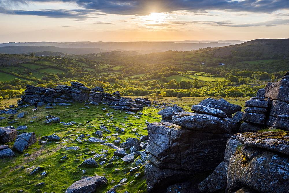 Tor at sunrise, Dartmoor National Park, Devon, England, United Kingdom - 1272-77