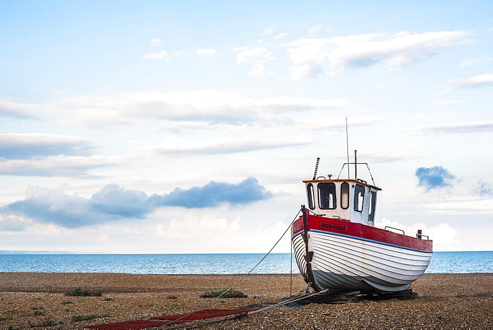 Fishing boat on Dungeness Beach, Kent, England, United Kingdom, Europe - 1272-88