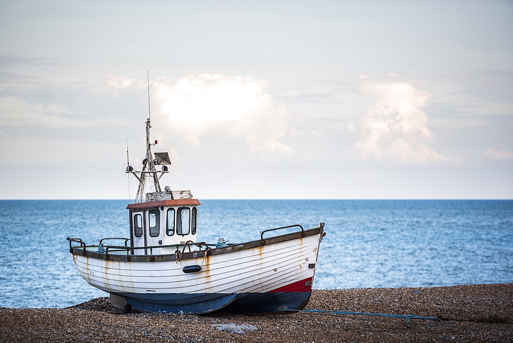 Old fishing boat on Dungeness Beach, Kent, England