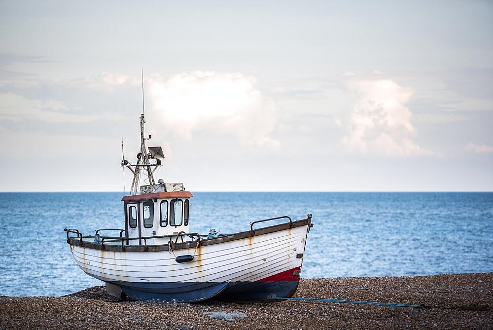 Old fishing boat on Dungeness Beach, Kent, England, United Kingdom, Europe - 1272-89