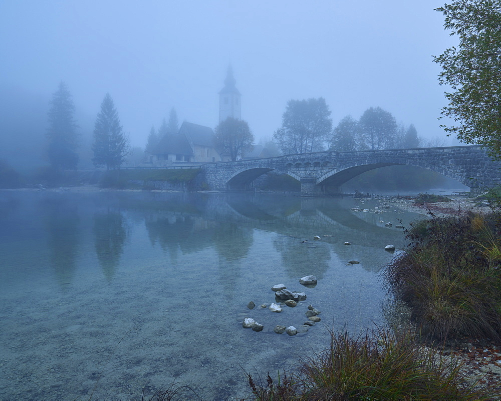 Church of St. John The Baptist on the banks of Lake Bohinj in morning mist, Triglav National Park, Slovenia, Europe - 1273-22