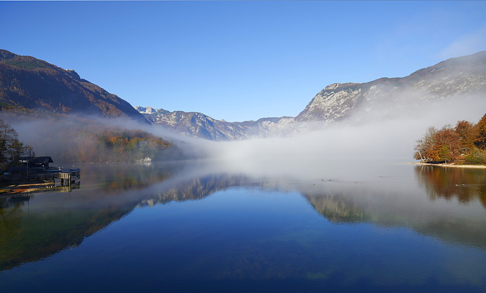 Clearing fog, Lake Bohinj, Triglav National Park, Slovenia, Europe - 1273-24