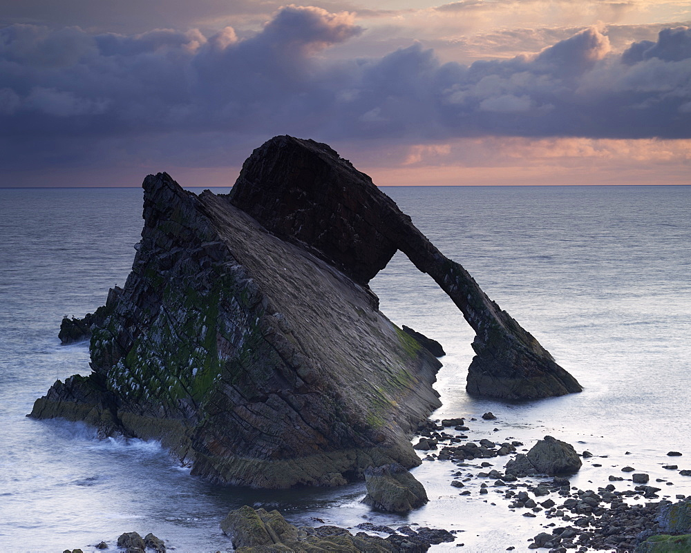 Bow Fiddle Rock at dawn, Moray Coast, Scotland, United Kingdom, Europe