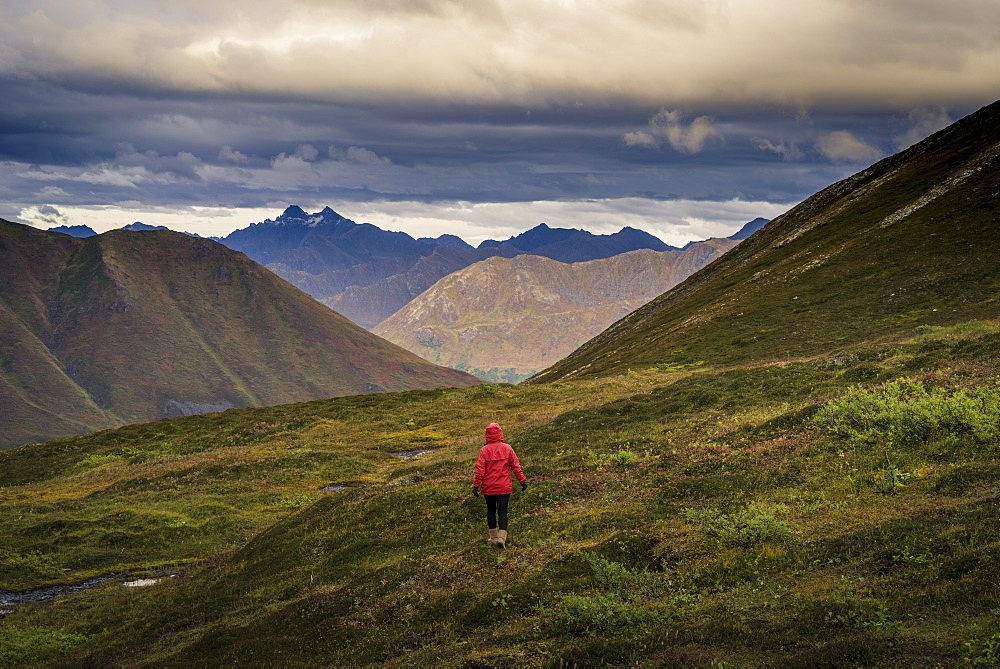 Lone hiker walks into Alaskan wilderness, Alaska, United States of America, North America - 1275-10