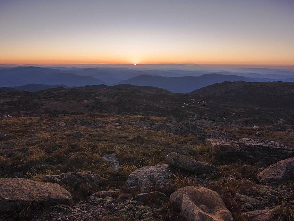 Mountain landscape from Mount. Kosciuszko, the highest peak of Australia