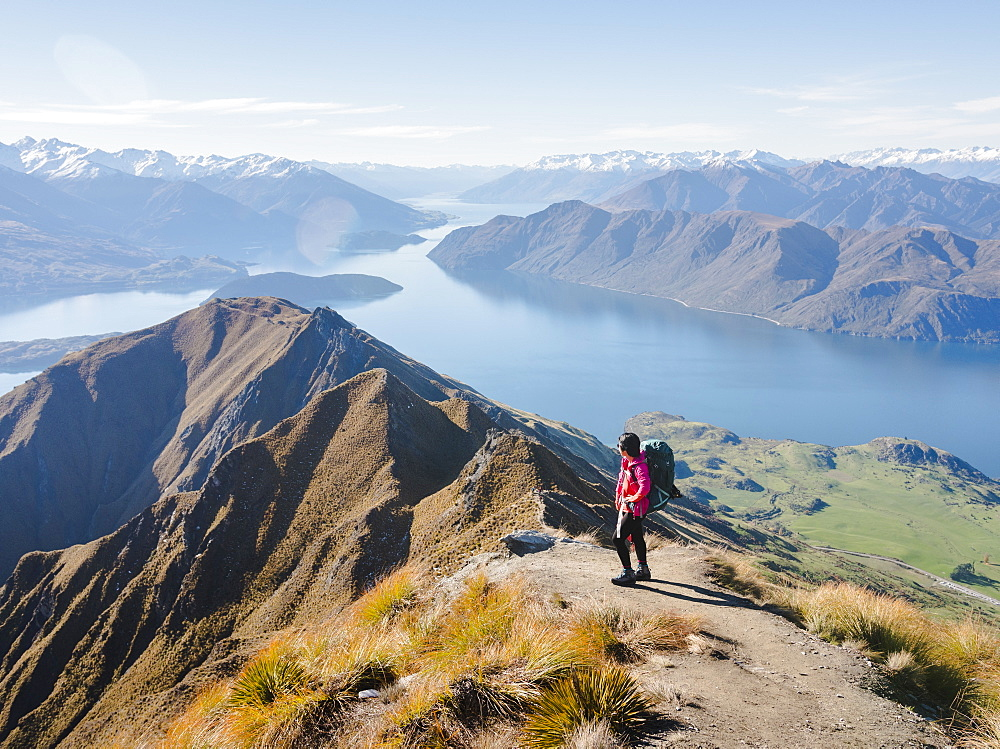 Woman hiker enjoying the view from the Roys Peak trail near Wanaka, Otago, South Island, New Zealand, Pacific - 1275-109