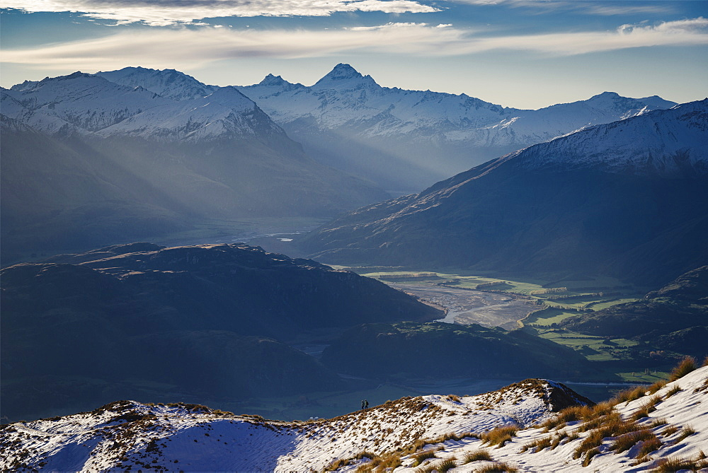 Hiking along the mountain ranges with a view of Mount Aspiring, Otago, South Island, New Zealand, Pacific - 1275-113