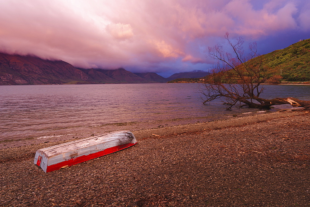 Boat by the lake, Glenorchy, Otago, South Island, New Zealand, Pacific - 1275-114