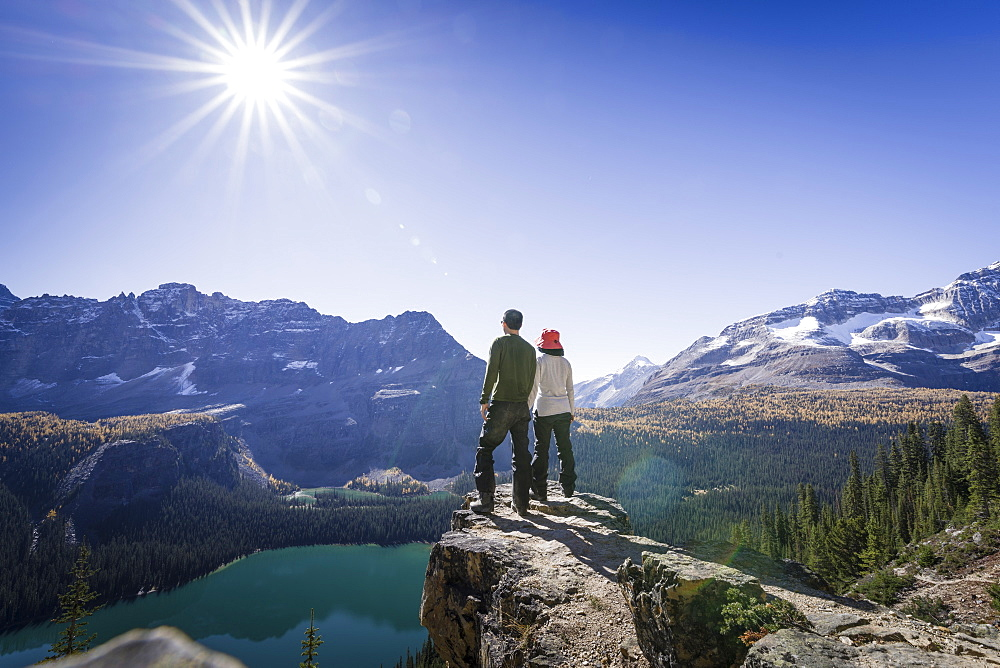 Hikers looking at the view of Alpine mountains and Lake O'Hara from the Alpine circuit trail, Yoho National Park, UNESCO World Heritage Site, Canadian Rockies, British Columbia, Canada, North America - 1275-15