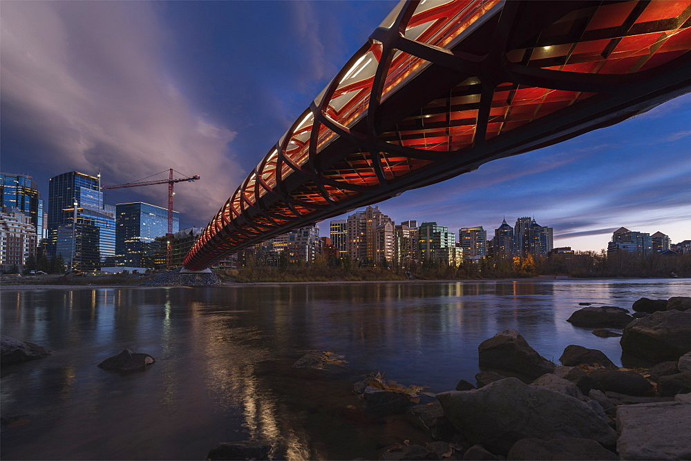 Calgary cityscape with Peace Bridge, Calgary, Alberta, Canada, North America - 1275-43