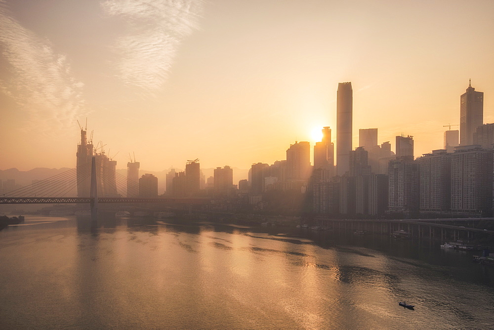 Chongqing city skyline at dawn, with the view of the Yuzhong peninsula CBD and Jialing River, Chongqing, China, Asia - 1275-69