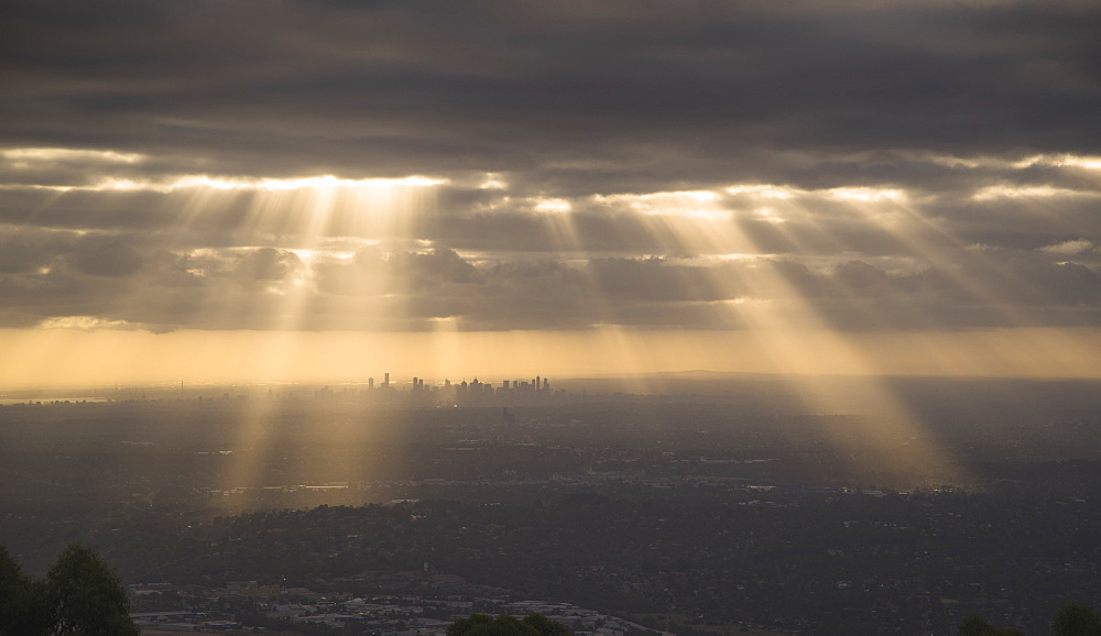 Dramatic view of Melbourne city from the Dandenong Mountain ranges, Victoria, Australia, Pacific - 1275-86