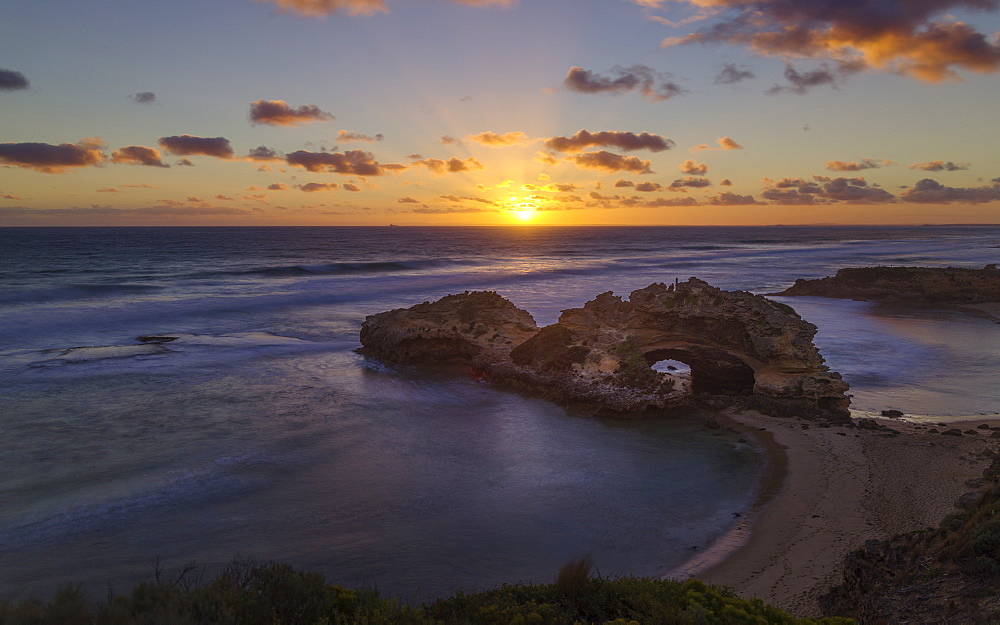 Coast sunset landscape viewed from the London Bridge lookout, in the Mornington Peninsula National Park, Victoria, Australia, Pacific - 1275-88