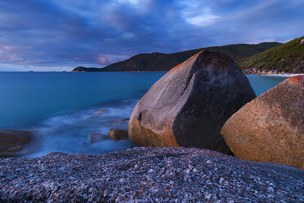 Long exposure landscape of the boulders along the coast of Wilsons Promontory national park, Australia