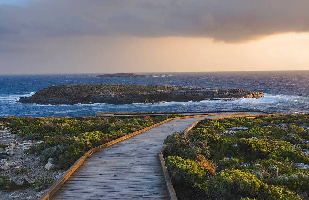 Board walk towards the Adrimals Arch in the Flinders Chase National Park, Kangaroo Island, Australia