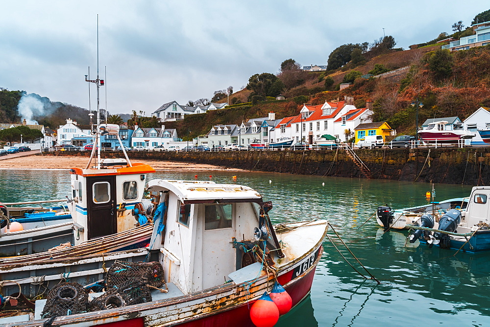 Boats at Rozel harbour, Jersey, Channel Islands, United Kingdom, Europe - 1276-1418