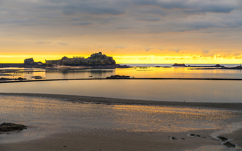 Elizabeth Castle at sunset, Jersey, Channel Islands, United Kingdom, Europe
