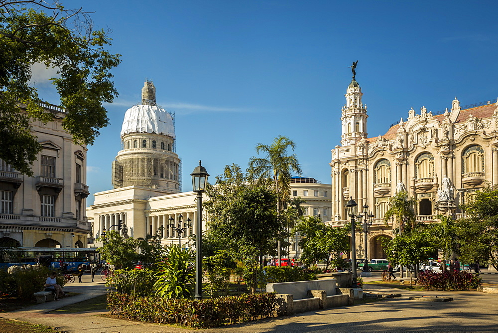 The Gran Teatro de La Habana, El Capitolio and Parque Central in Havana, Cuba, West Indies, Caribbean, Central America