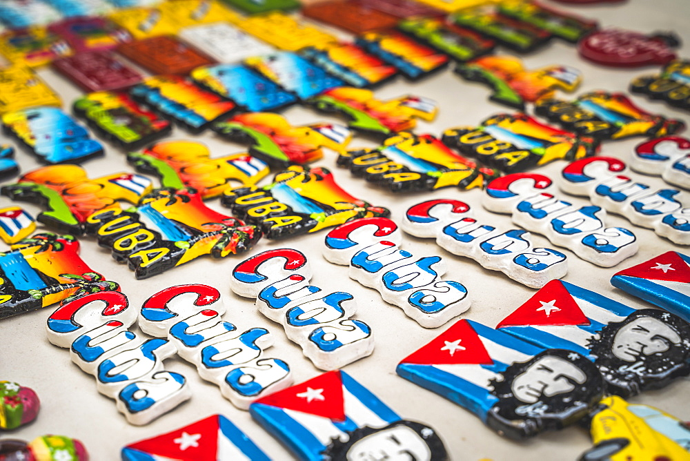 Colourful souvenirs for sale in a market in La Habana (Havana), Cuba, West Indies, Caribbean, Central America