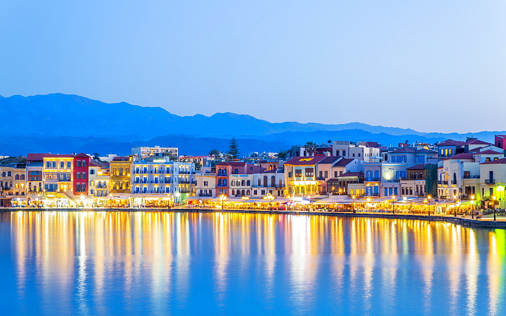 The Venetian Harbour at dusk, Chania, Crete, Greek Islands, Greece, Europe