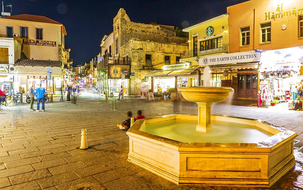 Venetian fountain at night, Chania, Crete, Greek Islands, Greece, Europe