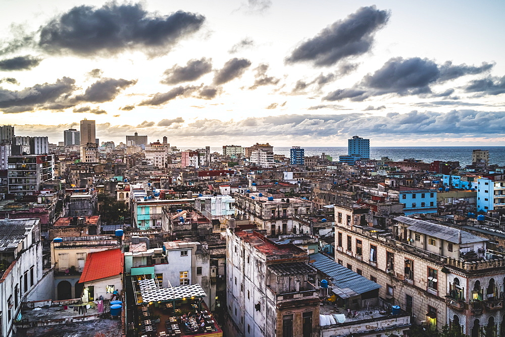 La Habana skyline at sunset, Havana, Cuba, West Indies, Caribbean, Central America