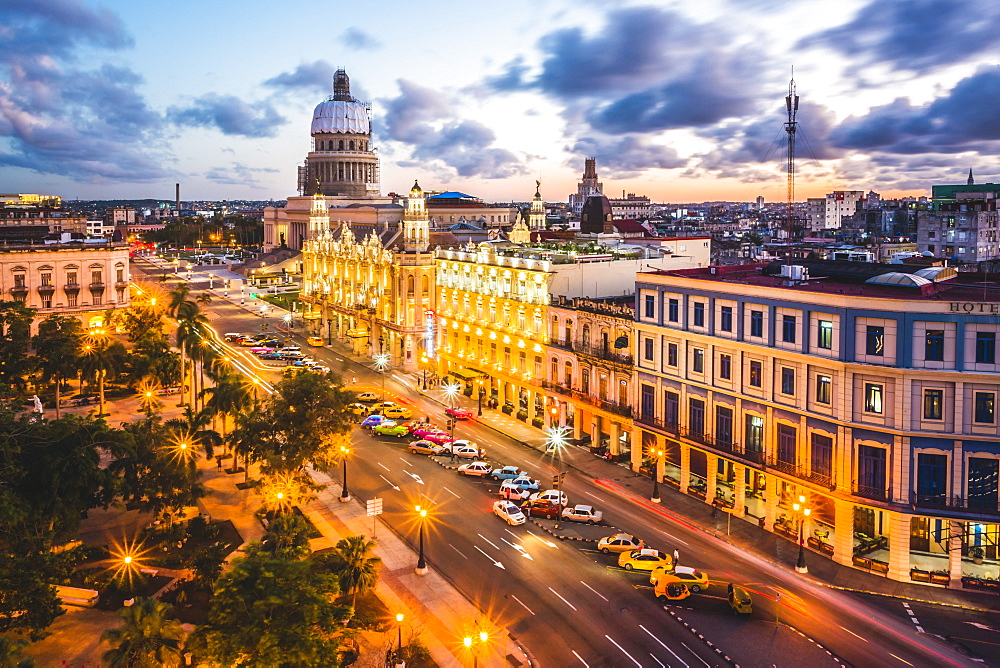 The Gran Teatro de La Habana and El Capitolio at sunset, Havana, Cuba, West Indies, Caribbean, Central America