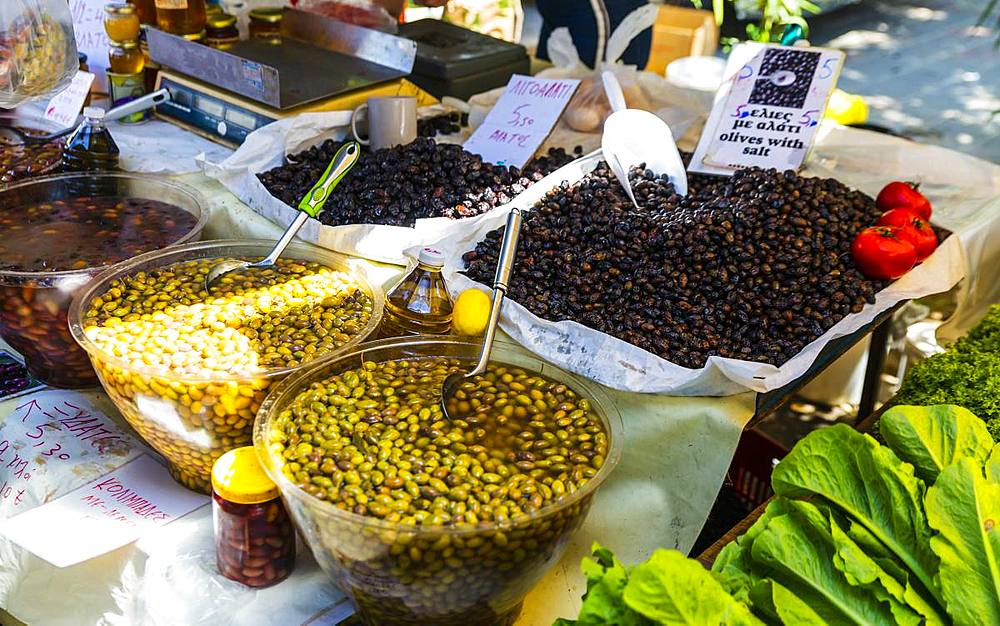 Olive stand, Chania, Crete, Greek Islands, Greece, Europe