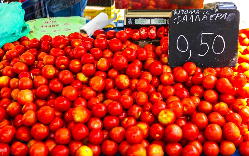 Tomatoes for sale, Chania, Crete, Greek Islands, Greece, Europe