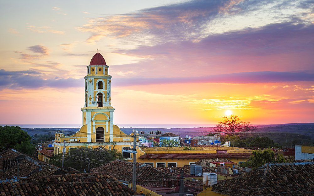 View of Bell Tower and Trinidad at sunset, UNESCO World Heritage Site, Sancti Spiritus, Cuba, West Indies, Caribbean, Central America