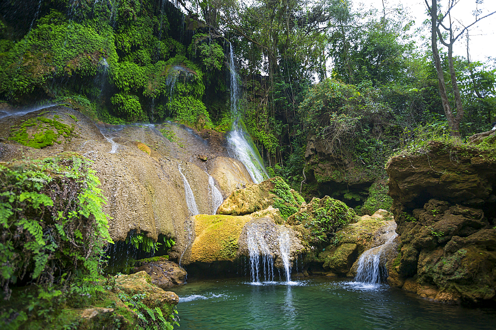 El Nicho waterfall, located in the Sierra del Escambray mountains not far from Cienfuegos, Cuba, West Indies, Caribbean