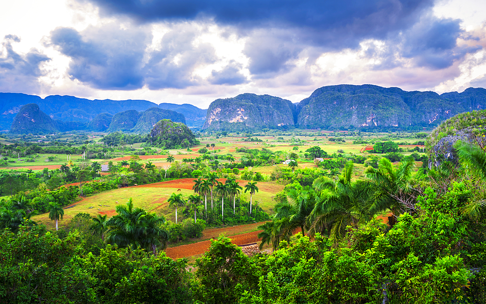 View of Vinales Valley at sunset, UNESCO World Heritage Site, Pinar del Rio Province, Cuba, West Indies, Caribbean, Central America