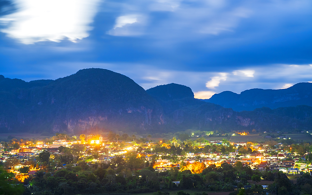 view of Vinales Valley at dusk, UNESCO, Pinar del Rio Province, Cuba, West Indies, Caribbean, Central America