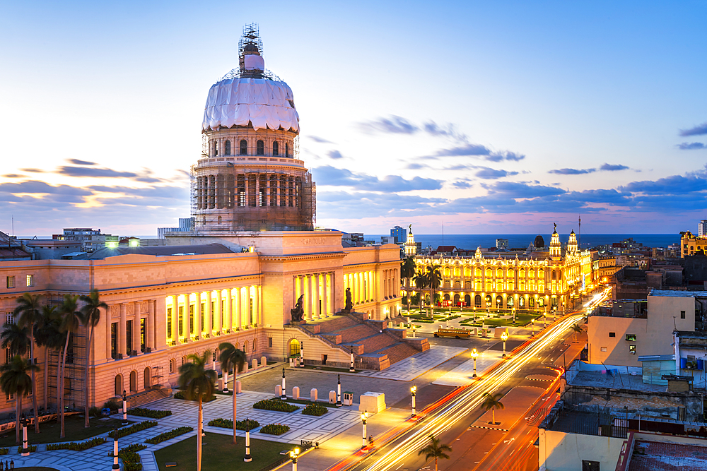 Aerial view the Gran Teatro de La Habana and El Capitolio at dusk, UNESCO World Heritage Site, Havana, Cuba, West Indies, Caribbean, Central America