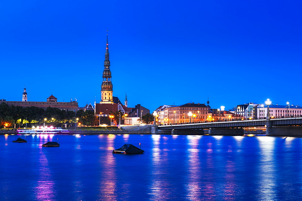 Riga's skyline at night, Old Town, UNESCO World Heritage Site, Riga, Latvia, Europe