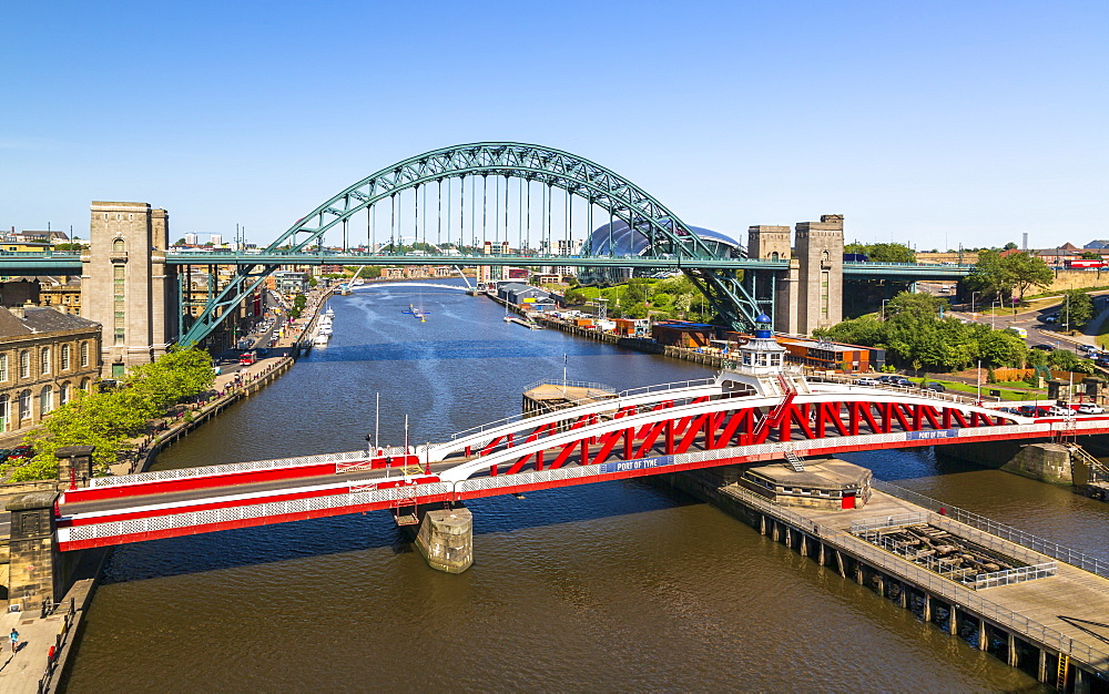 River Tyne, Swing Bridge, Tyne Bridge and Church of Saint Willibrord, Newcastle, Tyne and Wear, England, United Kingdom, Europe - 1276-172