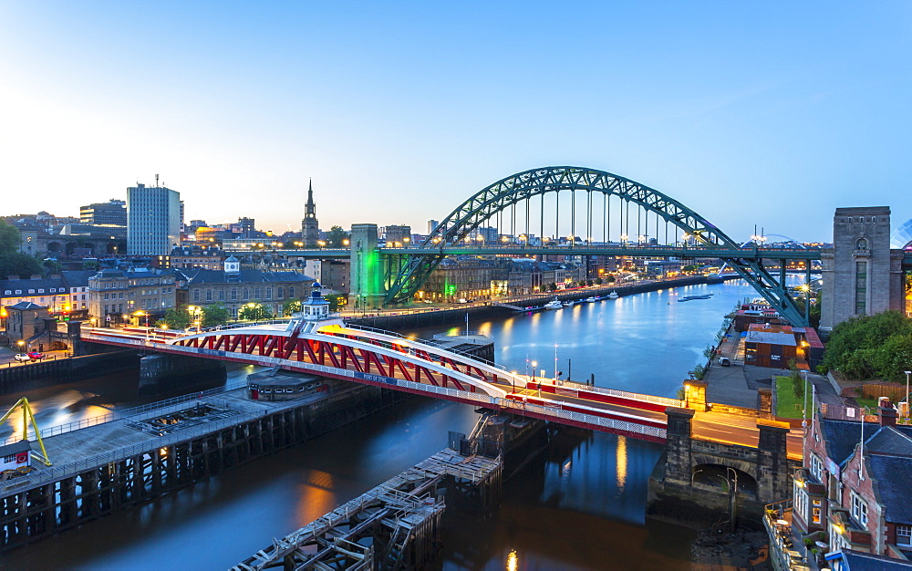 River Tyne, The Swing Bridge, Tyne Bridge and Millennium Bridge, Newcastle, Tyne and Wear, England, United Kingdom, Europe