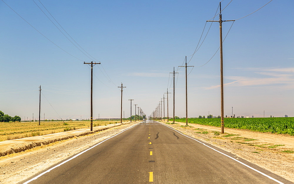Highway and electricity poles, California, United States of America, North America