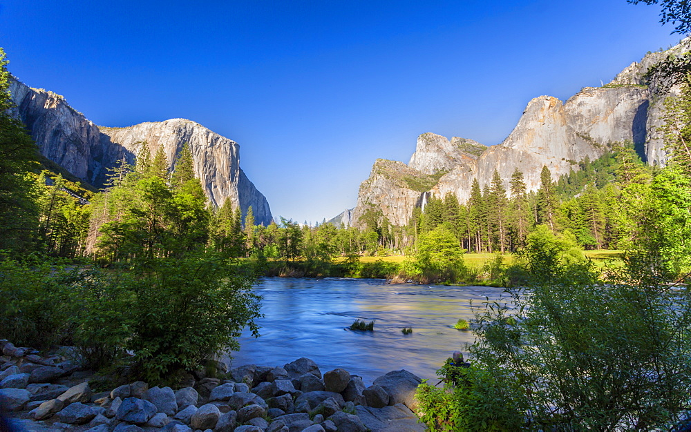 Merced River and El Capitan in Yosemite Valley, UNESCO World Heritage Site, California, United States of America, North America