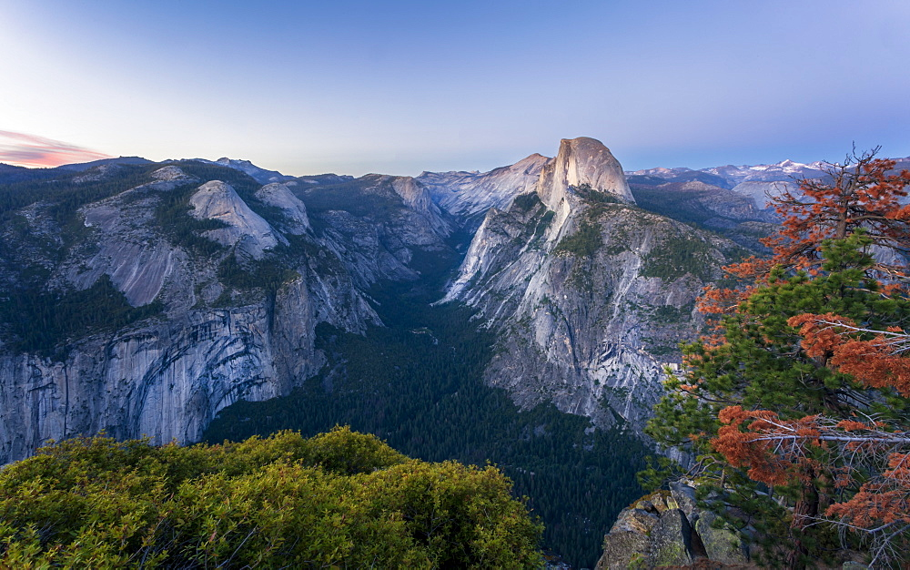 Half Dome and Yosemite Valley viewed from Glacier Point at dusk, Yosemite National Park, UNESCO World Heritage Site, California - 1276-183