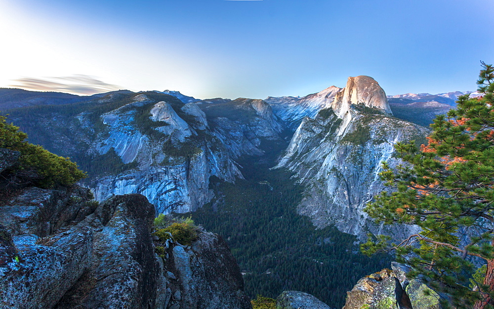 Half Dome and Yosemite Valley viewed from Glacier Point at dusk, Yosemite National Park, UNESCO World Heritage Site, California, United States of America, North America