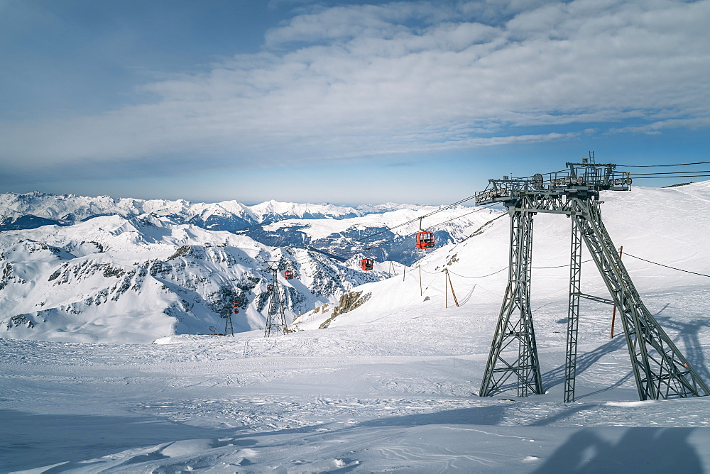 Red ski lifts at La Plagne ski resort, Tarentaise, Savoy, French Alps, France, Europe