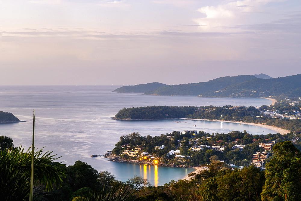 Sunset over Kata beach view point, Phuket, Thailand, Southeast Asia, Asia