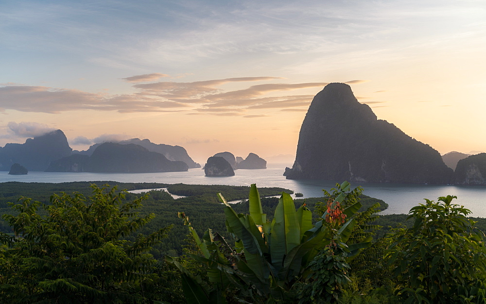 Sunrise at Samet Nangshe viewpoint, Phang Nga Bay National Park, Thailand, Southeast Asia