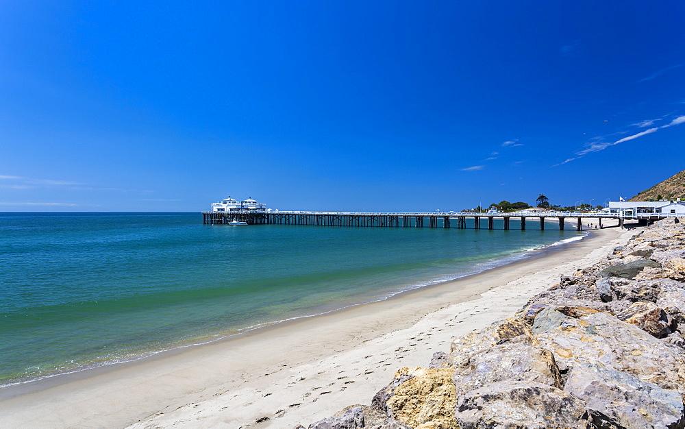 View of Malibu Beach and Malibu Pier, Malibu, California, United States of America, North America - 1276-265